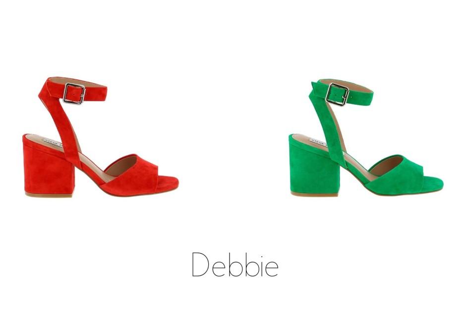 Debbie sandalia tacón ancho pulsera verde rojo Steve Madden