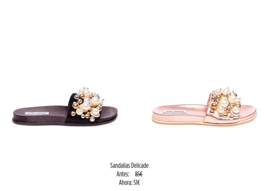sandalia plana perlas